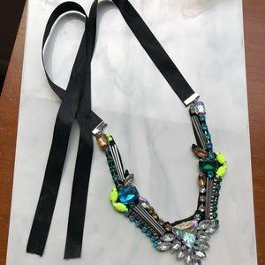 Jewelry - neon crystal hand sewn bib necklace